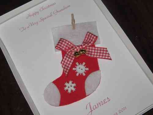 Personalised Handmade Christmas Card - Christmas Stocking