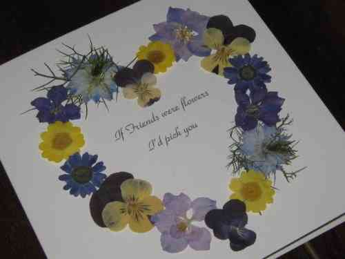 Handmade Mother's Day/Birthday Card Real Flower Heart - Lilac/Blue