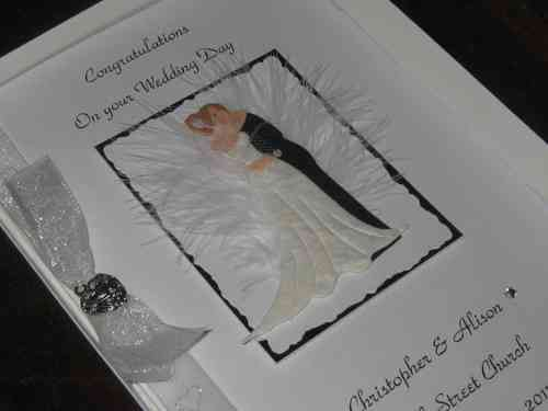 Personalised Handmade Wedding Card - Kissing Couple Boxed WED1