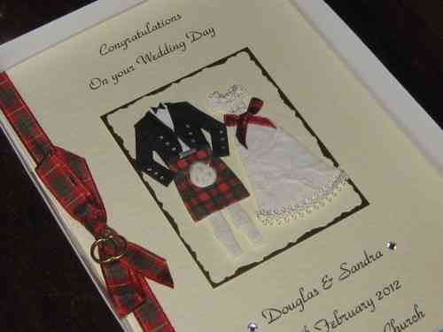 Personalised Handmade Scottish Wedding Card - Bride & Groom Boxed