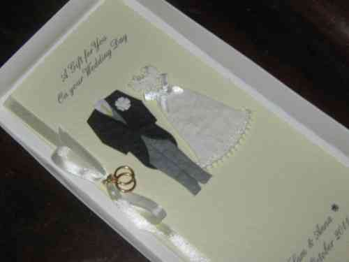 Personalised Handmade Wedding Gift Card Money Wallet - Bride & Groom Boxed