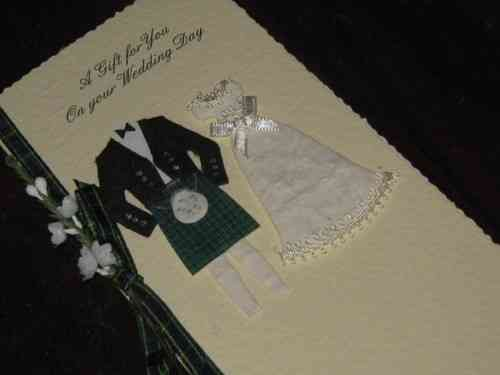 Personalised Handmade Scottish Wedding Gift Card Money Wallet - Bride & Groom Boxed