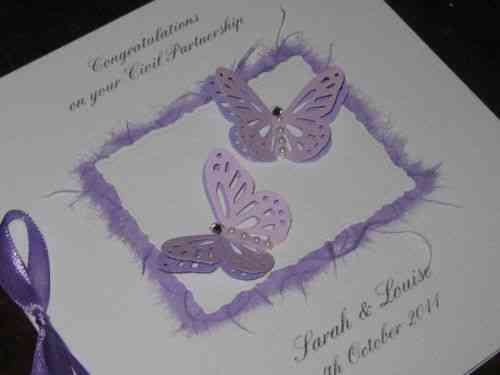 Personalised Handmade Civil Partnership Card