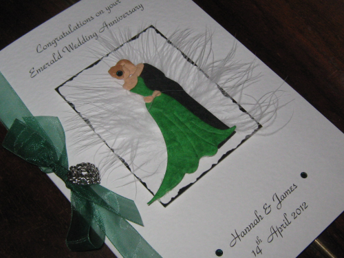 Personalised handmade 55th emerald anniversary card kissing couple