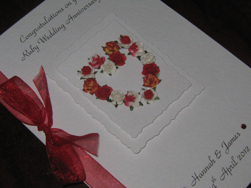 Personalised handmade 40th ruby anniversary card mulberry rose