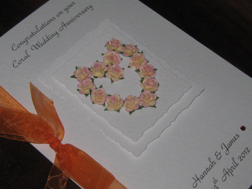 Personalised Handmade 35th Coral Anniversary Card - Mulberry Rose Heart Luxury Boxed