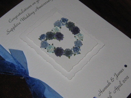 Personalised Handmade 45th Sapphire Anniversary Card - Mulberry Rose Heart Luxury Boxed