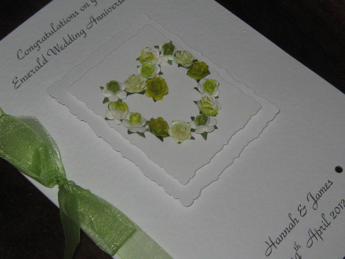 Personalised Handmade 55th Emerald Anniversary Card - Mulberry Rose Heart Luxury Boxed