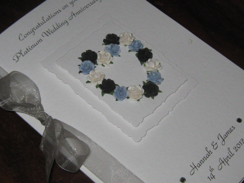 Personalised th platinum handmade wedding anniversary cards