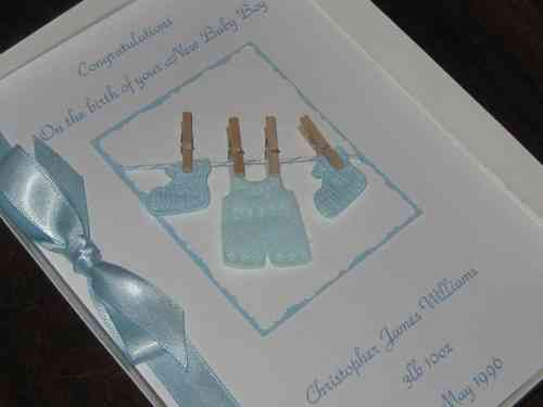 Personalised Handmade New Baby Girl Card - Baby Clothes Luxury Boxed BAB1