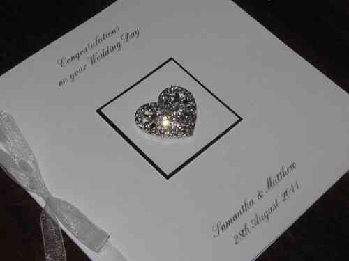 Personalised Handmade Wedding Card - Diamante Heart