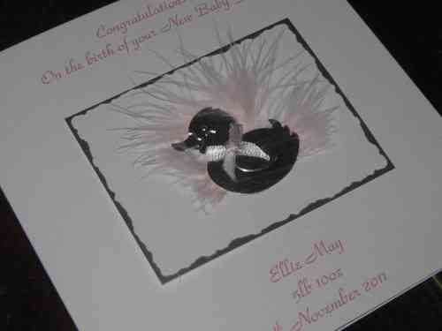 Handmade Christening Card - Baby Duck