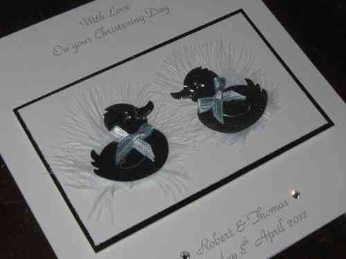 Handmade Twins' Christening Card - Baby Ducks