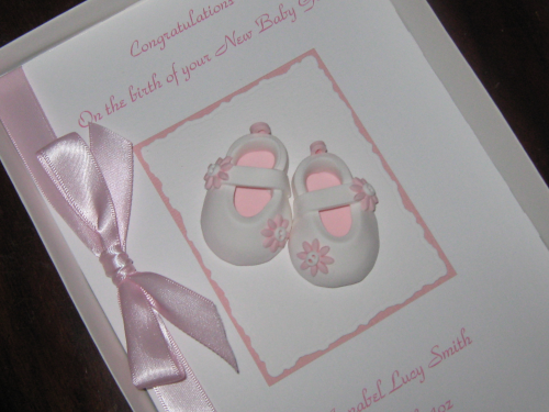 personalised handmade new baby girl card baby shoes luxury boxed