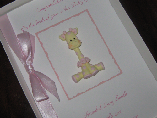 Personalised Handmade 1st Birthday Card/New Baby Girl Card - Gertie Giraffe Luxury Boxed