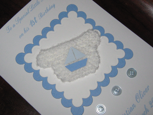 Personalised Handmade 1st Birthday Card/New Baby Boy Card