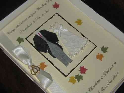Personalised Handmade Autumn Wedding Card - Bride & Groom Boxed