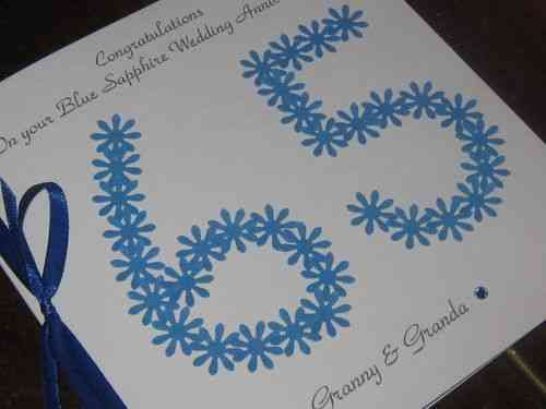Personalised Handmade 65th Blue Sapphire Wedding Anniversary Card - Floral Numbers