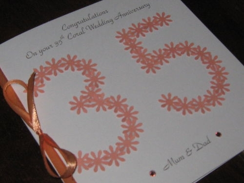 personalised handmade 35th coral wedding anniversary card floral