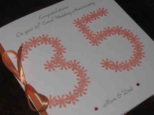 Personalised Handmade 35th Coral Wedding Anniversary Card - Floral Numbers