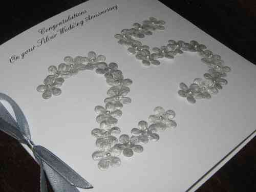 Personalised Handmade 25th Silver Wedding Anniversary Card - Floral Numbers