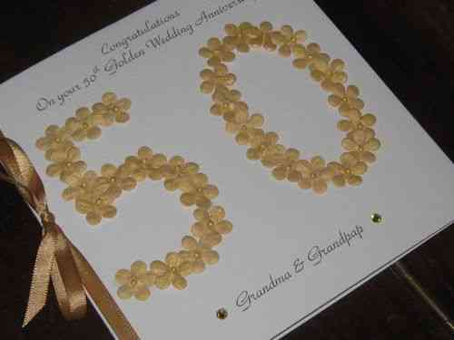 Personalised Handmade 50th Golden Wedding Anniversary Card - Floral Numbers