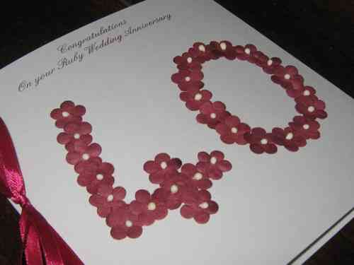 Personalised Handmade 40th Ruby Wedding Anniversary Card - Floral Numbers