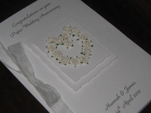 Personalised Handmade 2nd Cotton Wedding Anniversary Card - Mulberry Rose Heart Luxury Boxed