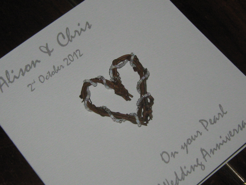 Personalised Handmade 30th Pearl Anniversary Card - Rustic Heart