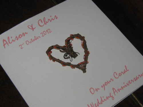 Personalised Handmade 35th Coral Anniversary Card - Rustic Heart