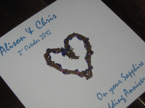Personalised Handmade 45th Sapphire Anniversary Card - Rustic Heart