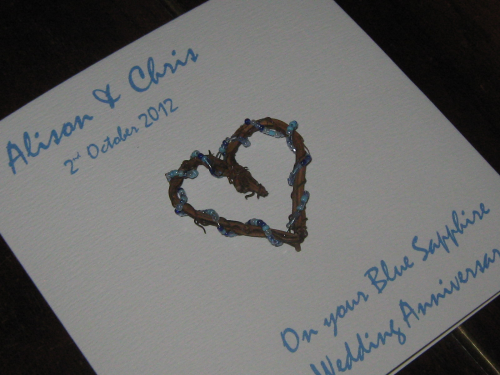 Personalised Handmade 65th Blue Sapphire Anniversary Card - Rustic Heart