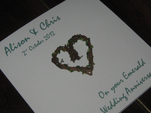 Personalised Handmade 55th Emerald Sapphire Anniversary Card - Rustic Heart