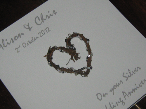 Personalised Handmade 25th Silver Anniversary Card - Rustic Heart