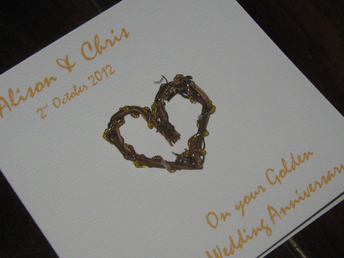 Personalised Handmade 50th Golden Anniversary Card - Rustic Heart