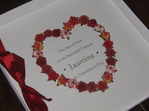 Personalised Handmade Valentine Card - Mulberry Rose Heart Silhouette Luxury Boxed