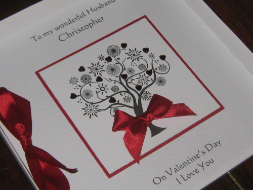 Personalised Handmade Valentine Card - Valentine Tree Luxury Boxed