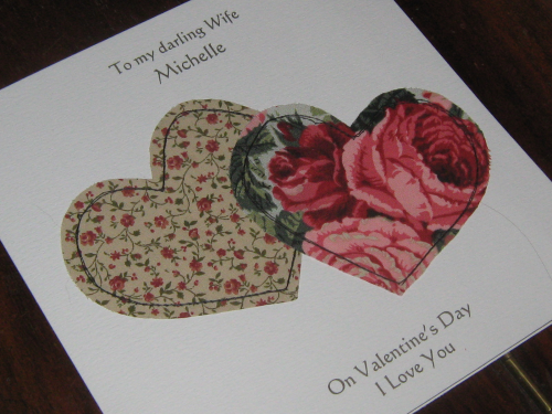 Luxury Handmade Card - Stitched Patchwork Hearts