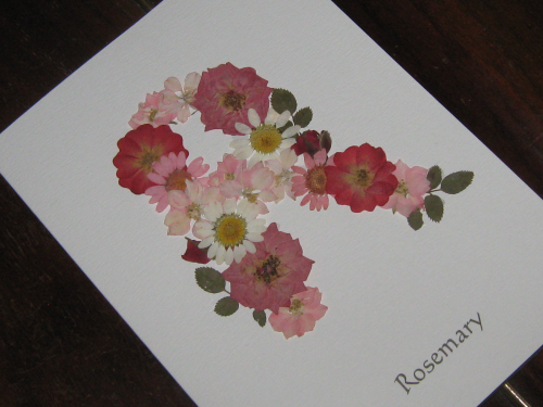 Handmade Birthday Card Real Flower Initial - Pink
