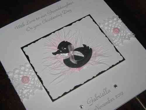 Handmade Christening Card - Baby Duck Luxury Boxed