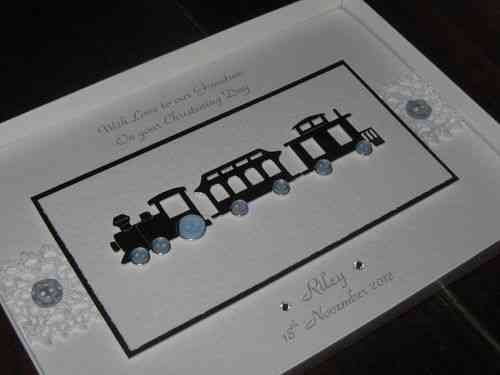 Handmade Christening Card Silver Train Luxury Boxed - personalised to order