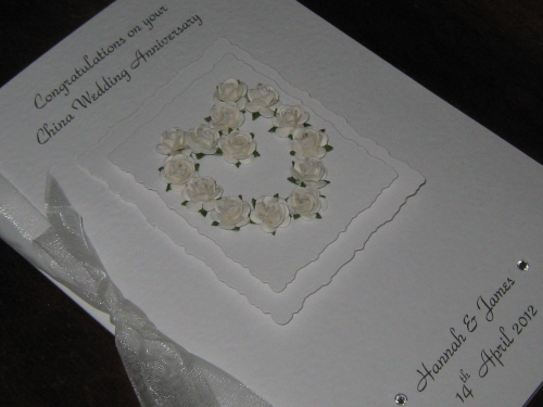 Personalised Handmade 20th China Anniversary Card - Mulberry Rose Heart Luxury Boxed
