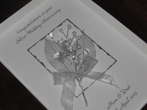Luxury Personalised Handmade 15th, 60th, 75th Wedding Anniversary Card -  Rose & Jewel Bouquet Boxed