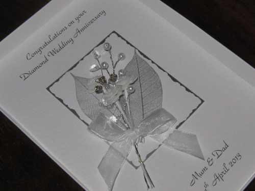 Luxury Personalised Handmade 1st , 2nd, 13th,  20th Wedding Anniversary Card -  Rose & Jewel Bouquet Boxed