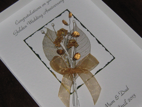 Luxury Personalised Handmade 50th Wedding Anniversary Card