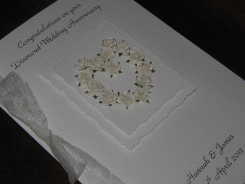 Personalised Handmade 75th Diamond Wedding Anniversary Card - Mulberry Rose Heart Luxury Boxed