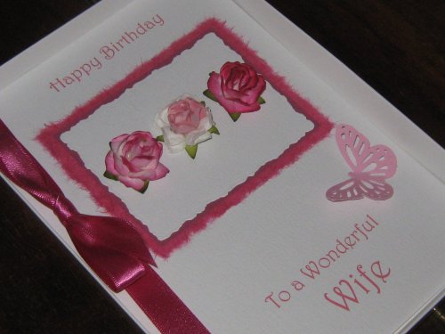 Personalised Handmade Birthday Card  Triple Rose - Luxury Boxed