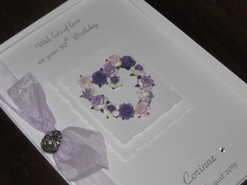 Personalised Handmade Birthday Card - Mulberry Rose Heart Luxury Boxed WED4