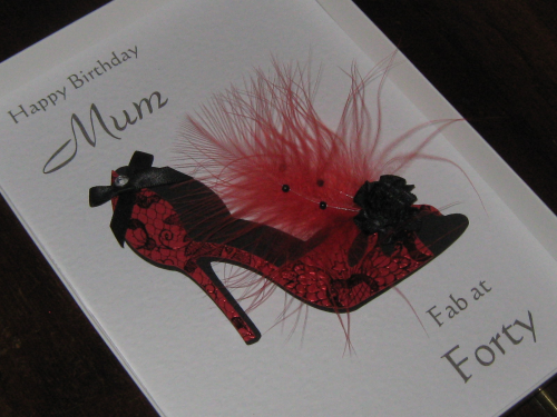 Personalised Handmade Birthday Card 30th, 40th, 50th, 60th, 70th, 80th, 90th,100th Glamorous Stiletto Luxury Boxed
