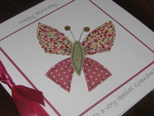 Handmade Birthday Card - Patchwork Butterfly Luxury Boxed